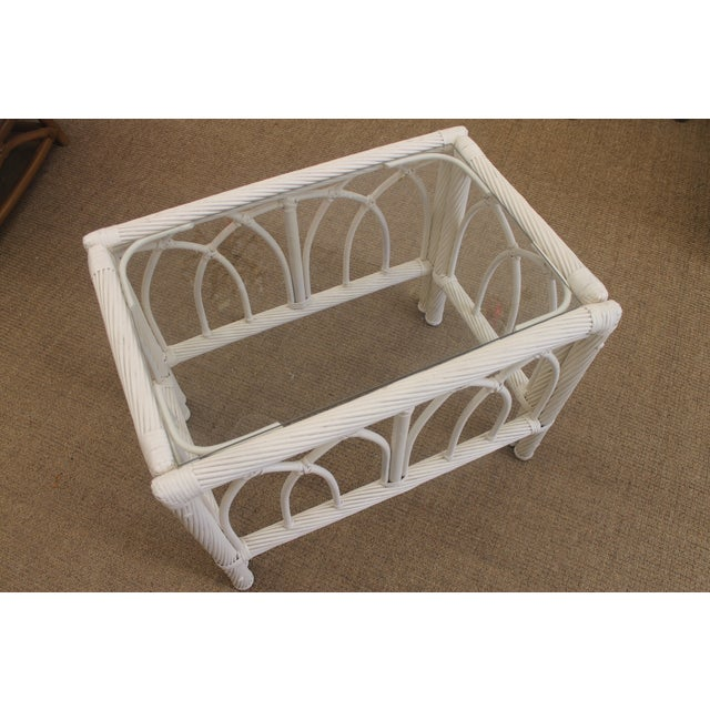 White Vintage Cane End Tables - A Pair - Image 3 of 6