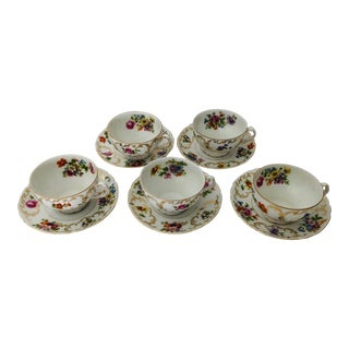 Vintage Victoria China Czechoslovakia Set of 5 Cups & Saucers For Sale