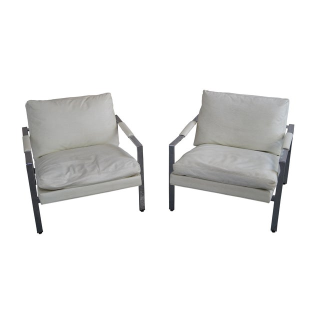 Milo Baughman Chrome Flat Bar Lounge Chairs - Pair For Sale