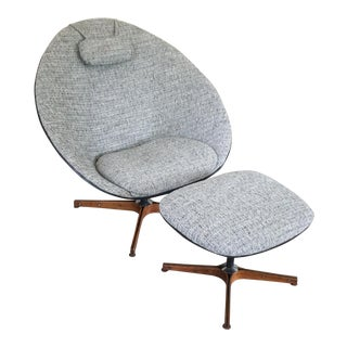 1950s George Mulhauser for Plycraft Egg Chair and Ottoman Signed For Sale