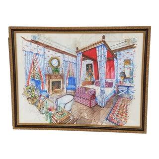 Vintage Framed Interior Designer Original Watercolor Rendering of a Bedroom For Sale