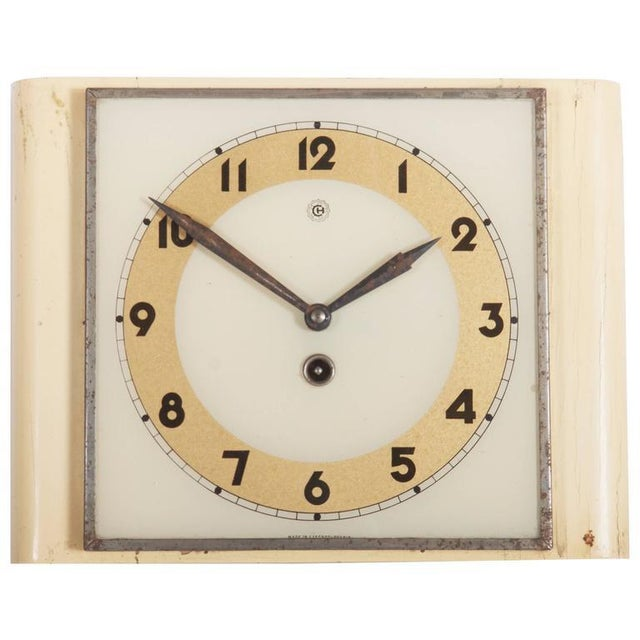 Glass Art Deco Wall Clock by Chomutov, 1930s For Sale - Image 7 of 7