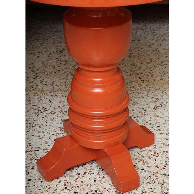 Hollywood Regency Pair of Architectural Mid-Century Modern Orange Lacquered Side Tables, 1960s For Sale - Image 3 of 11
