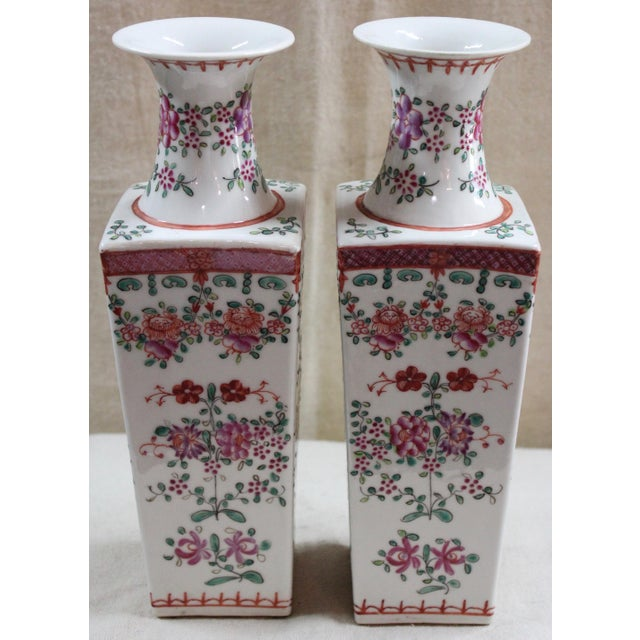 Chinese Chinese Famille Rose Vases - a Pair For Sale - Image 3 of 6