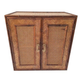 1980s Boho Chic Two-Door Rattan and Cane Cabinet For Sale