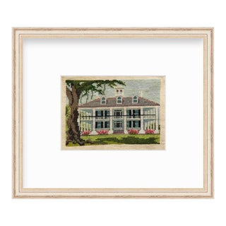 Vintage Custom Historical Southern Mansion Landscape Framed Cross Stich Art For Sale