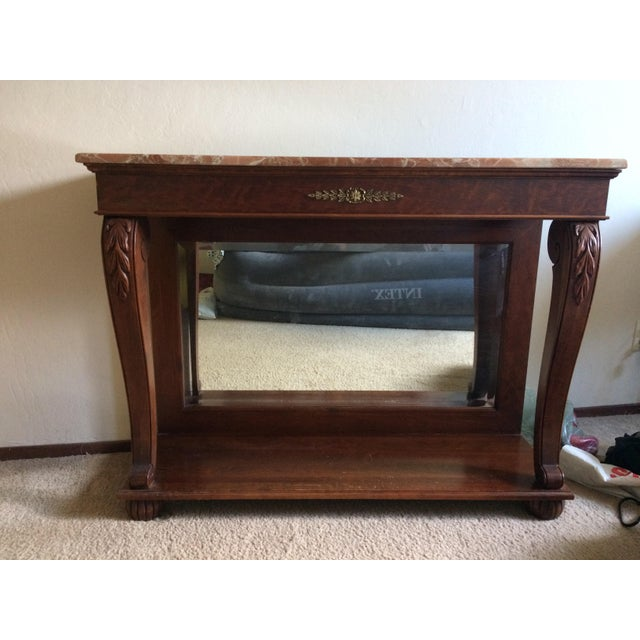 Ethan Allen Marble Top & Mirrored Console Table - Image 2 of 7