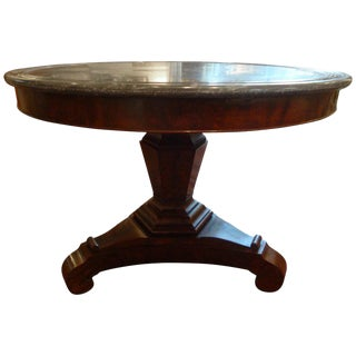 19th Century French Restauration Period Walnut Center Table With Marble Top For Sale