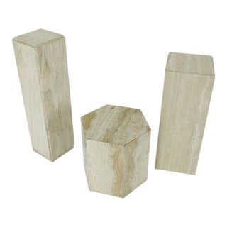 Travertine Marble Pedestal Hexagon Square Tower Shape