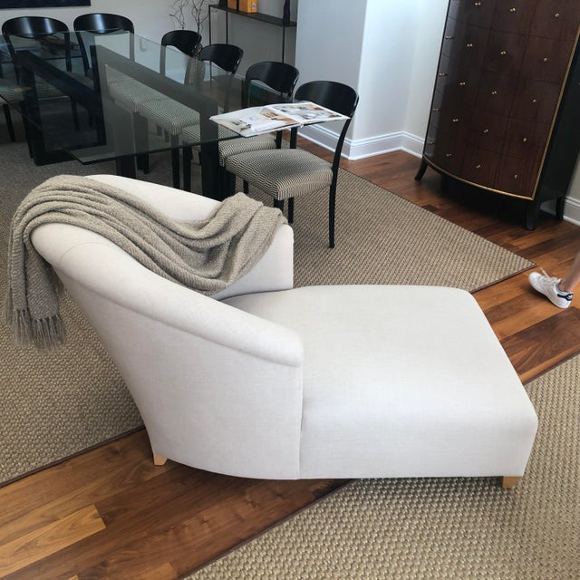 Textile Donghia Plato Chaise in Flax Linen For Sale - Image 7 of 13