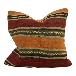 Turkish Anatolian Design Hand Woven Kilim Throw Pillow Cover For Sale