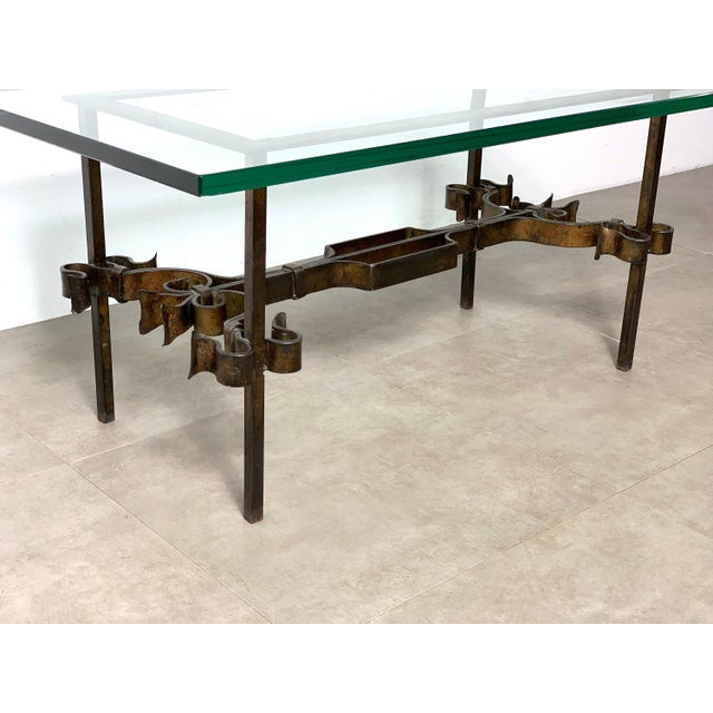 Brutalist Spanish Gilded Iron Glass Coffee Table, Circa 1950's For Sale - Image 9 of 10