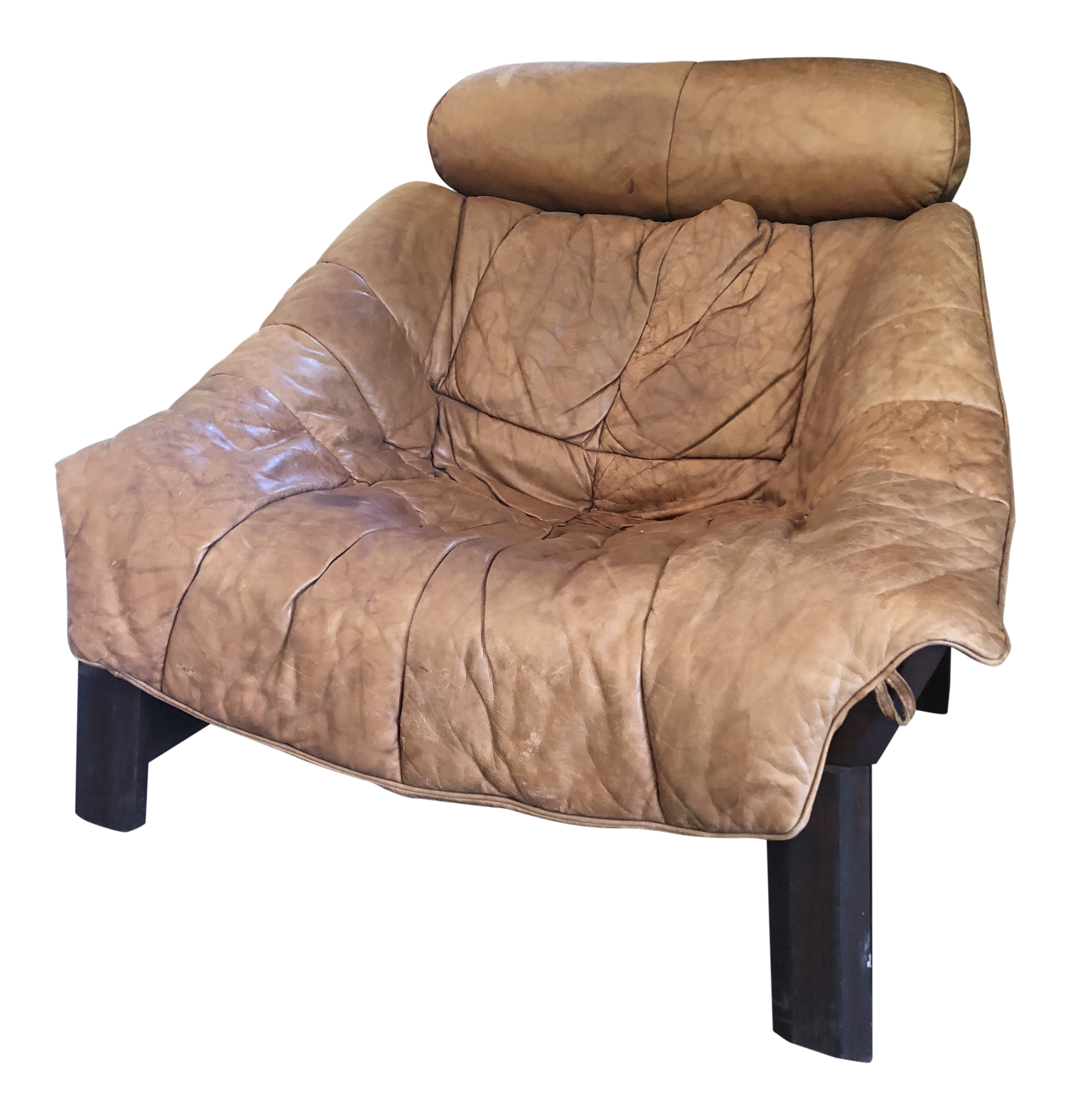 Sergio Rodrigues Leather U0026 Rosewood Lounge Chair