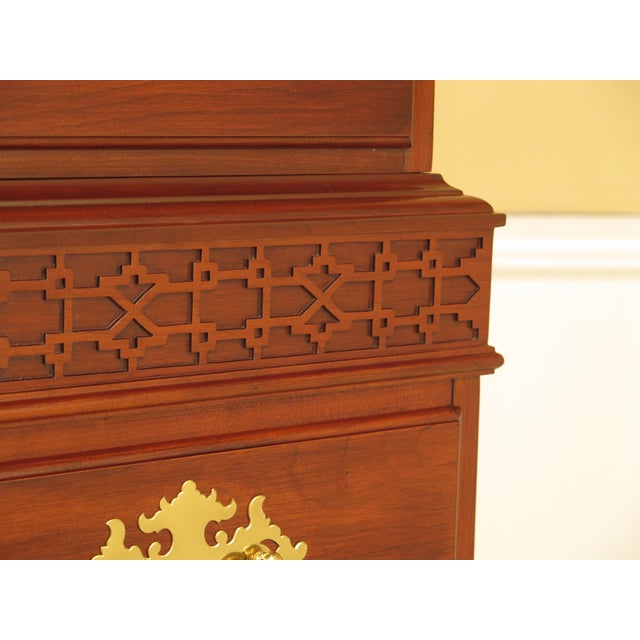 Cherry Wood Henkel Harris 2-Piece Cherry Perkins Chest on Chest For Sale - Image 7 of 11