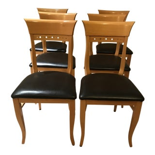 Modern Contemporary Classic Italian Maple Wood Chairs - Set of 6 For Sale