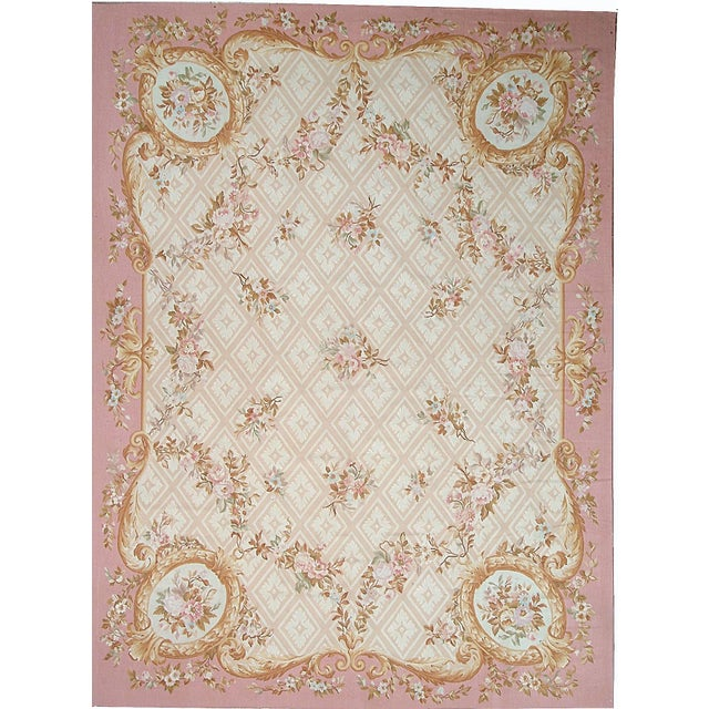 French Provincial Pasargad Aubusson Hand-Woven Wool Rug- 9' X 12' For Sale - Image 3 of 3
