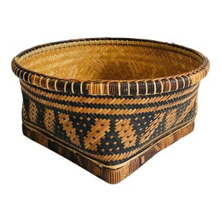 Vintage Two Tone Woven Basket For Sale