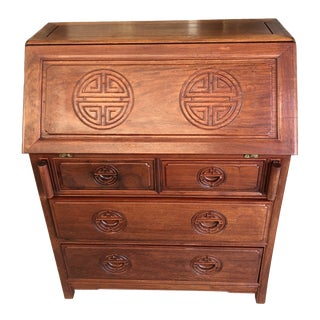 1980s Asian Style Rosewood Secretary Desk For Sale