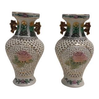 20th Century Chinese Decorative Lattice Porcelain Vases - a Pair For Sale