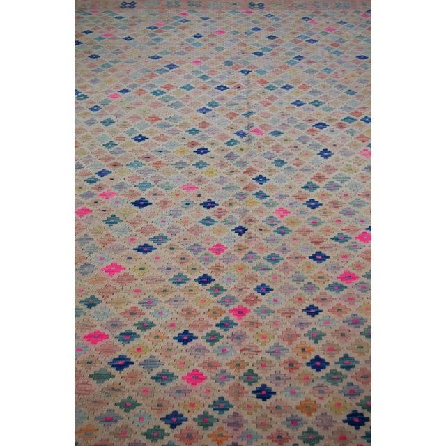 Afghan Vintage Geometric Maimana Wool Kilim Rug - 6'9″x10'1″ For Sale - Image 3 of 9