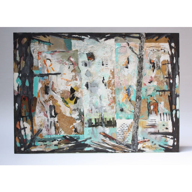 Ralph de Burgos (b. Shanghai, China 1906 d. Washington DC, US 1979) mixed-media collage and oil abstract on paper, circa...