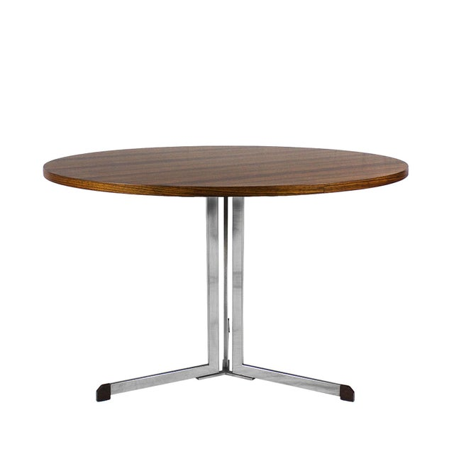 Mid-Century Modern 1950s Round Table, Nickel-Plated Steel and Zebra Wood Veneer - Italy For Sale - Image 3 of 7