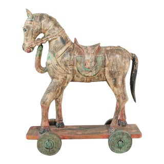 Wooden Oversized Temple Horse from India For Sale