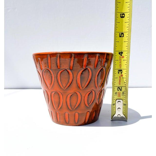 Ceramic Italian Orange Mid-Century Ceramic Planter For Sale - Image 7 of 9