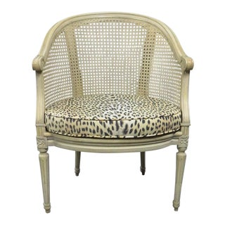 Louis XVI Cream Caned Leopard Side Chair