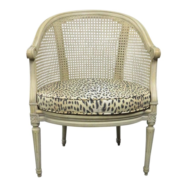 Louis XVI Cream Caned Leopard Side Chair For Sale