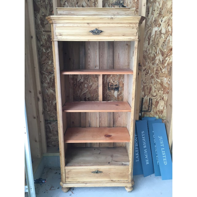 Antique pine display cabinet - armoire - bookcase - charming and versatile,  would be great - 20th Century Cottage Pine Shelving Unit Chairish
