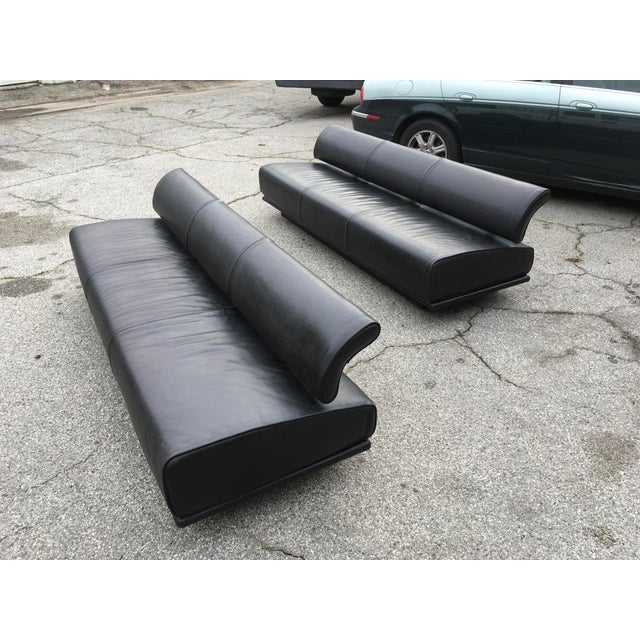 Italian Black Leather Sofas With Floating Back - a Pair For Sale - Image 13 of 13
