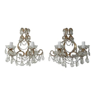 1900 Italian Rococo Beaded Crystal Prisms Gold Gilt Sconces - a Pair For Sale