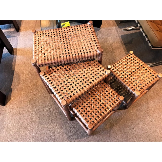 Wood 1980s Rustic Modern McGuire Rattan and Laced Leather Nesting Tables or Stools - Set of 4 For Sale - Image 7 of 12