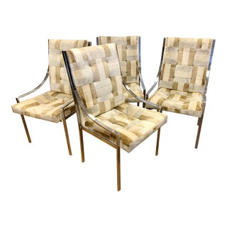 Milo Baughman Chrome and Velvet Dining Chairs For Sale