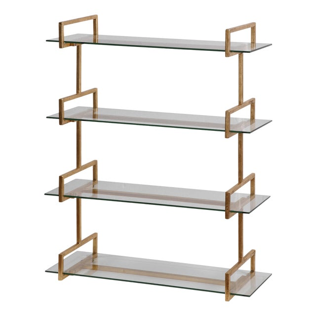 Gold Iron Wall Shelf For Sale