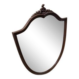 Antique Wood Framed Shield Mirror