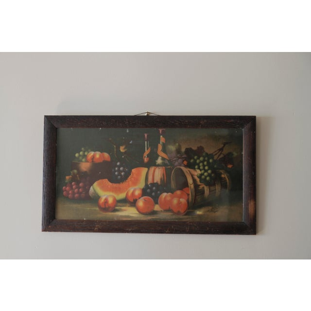 This is one charming 19th century Victorian painting full of fresh fruit and wine. There is an abundance of appetizing...