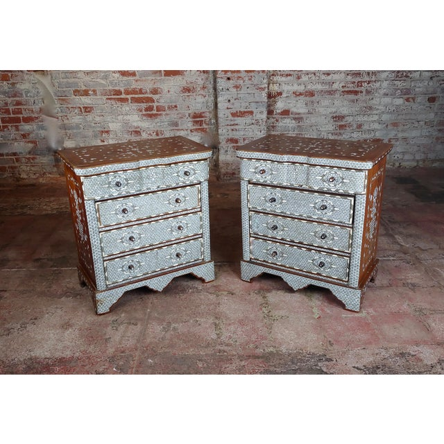 Syrian Beautiful Mother-Of-Pearl Inlay Chests Nightstands - A Pair For Sale - Image 10 of 11