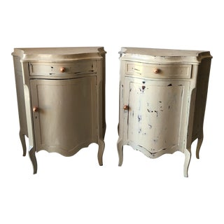 Cream Shabby Chic Side Tables - A Pair