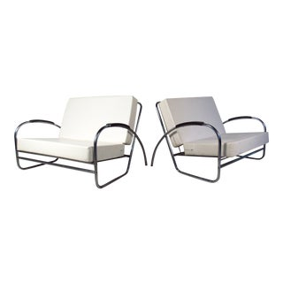 Pair of Vintage Modern Oversized Lounge Chairs by Royal Metal For Sale