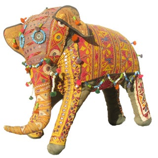 Large Vintage Anglo Raj Embroidered Elephant, C. 1950 For Sale