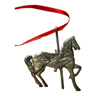 Vintage Hand & Hammer Sterling Christmas Ornament Carousel Horse For Sale