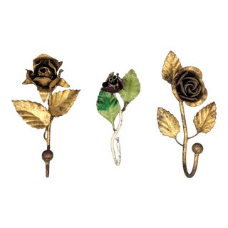 20th Century Italian Tole and Gold Gilt Rose Wall Hooks - Set of 3 For Sale