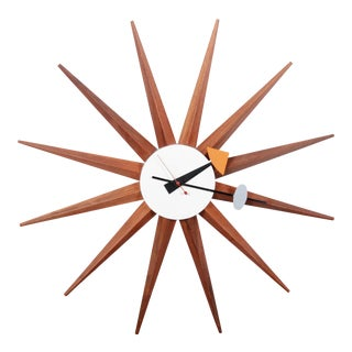 Original George Nelson for Howard Miller Mid-Century Modern Sunburst Spike Clock, Circa 1952 For Sale
