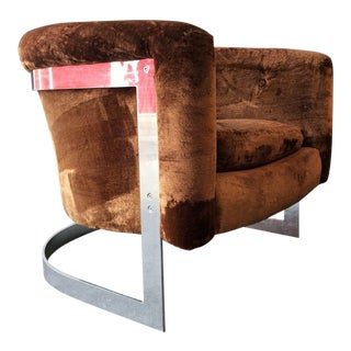 Modern Milo Baughman Chrome Cantilevered Barrel Lounge Chair For Sale