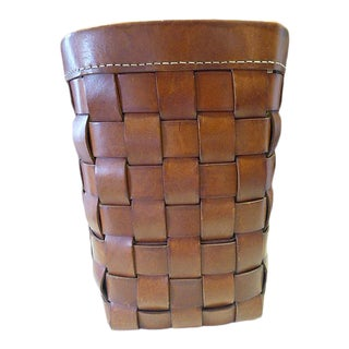 Modern Vintage Italian Woven Leather Waste Basket by Henry Beguelin For Sale
