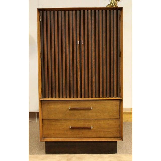 Brown Mid Century Modern Lane Rosewood Bedroom Set Dresser Headboard Cabinet - Set of 6 For Sale - Image 8 of 13