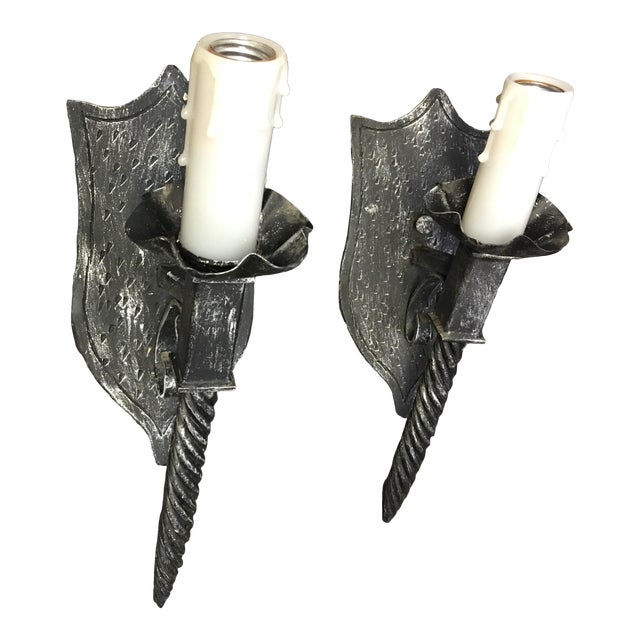 1940s Vintage Black Wrought Iron Torch Light Sconce - a Pair For Sale
