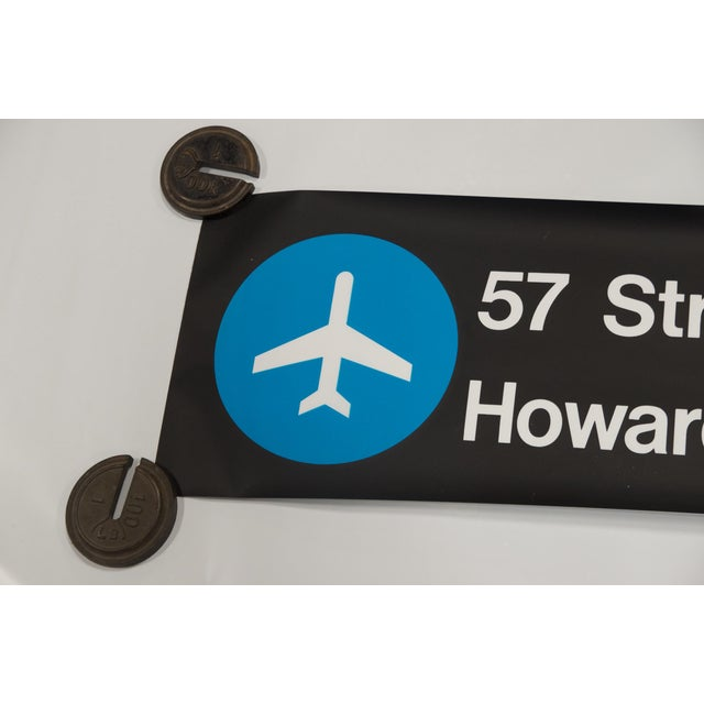 """Vintage New York """"Train to the Plane"""" Subway Sign - Image 3 of 5"""